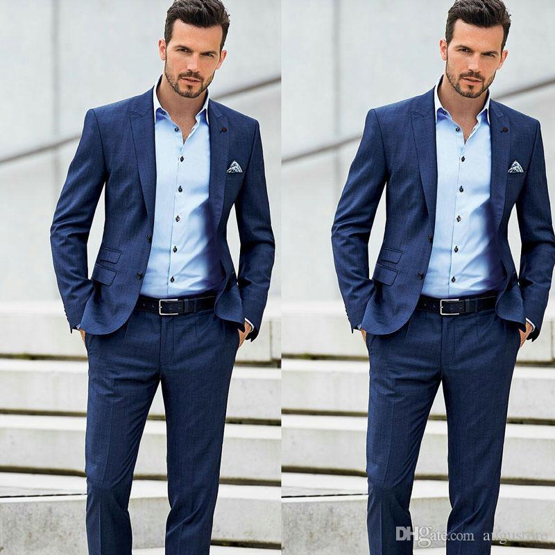 Peak Design Blau Business Men Anzüge mit Hosen Herren Blazer Bräutigam Smoking Stattliche Männer Outfit 2Piece Kostüm Homme Terno Masculino