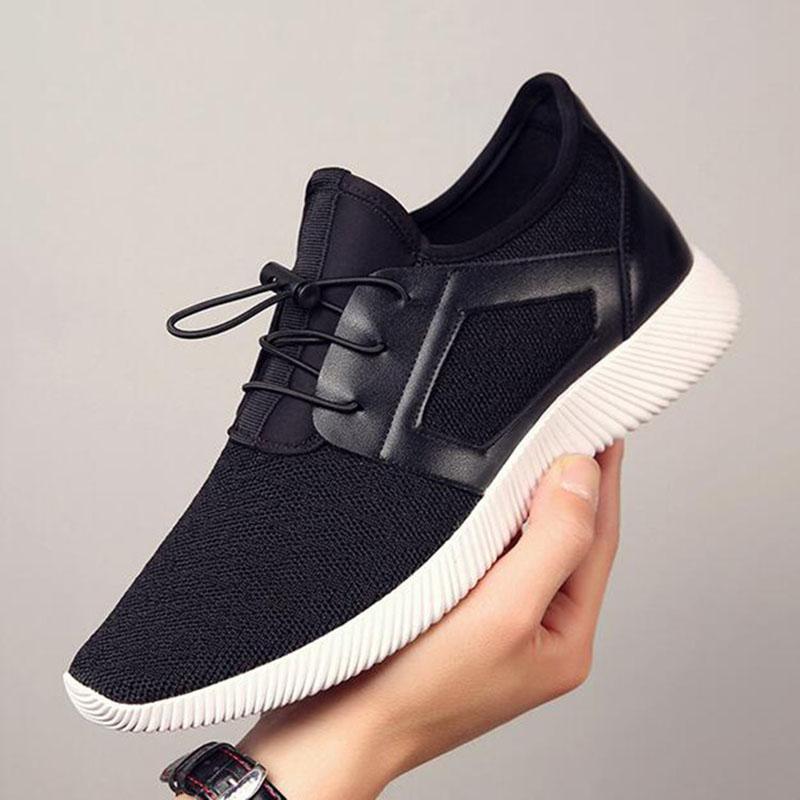 Erkekler Örgü Mesh Nefes Düz Topuk Ayakkabı Spor Casual Kaliteli Sneakers Dış Ticaret Sınır Ötesi Erkek Koşu Ayakkabıları