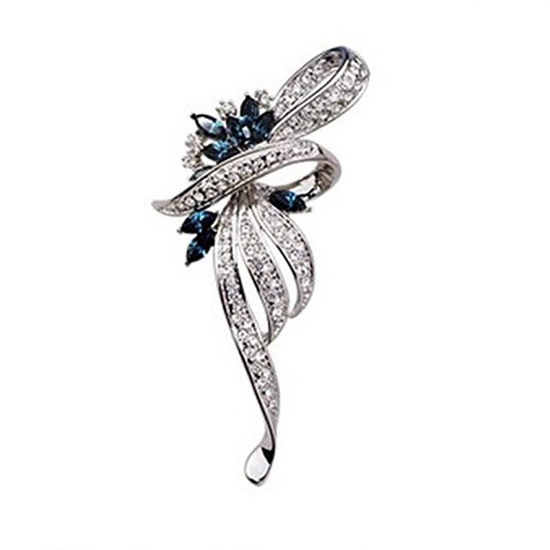 Diseños mixtos venta al por mayor de estilo europeo y americano de mayor venta de alta gama de diamantes de imitación broche flor broche pines