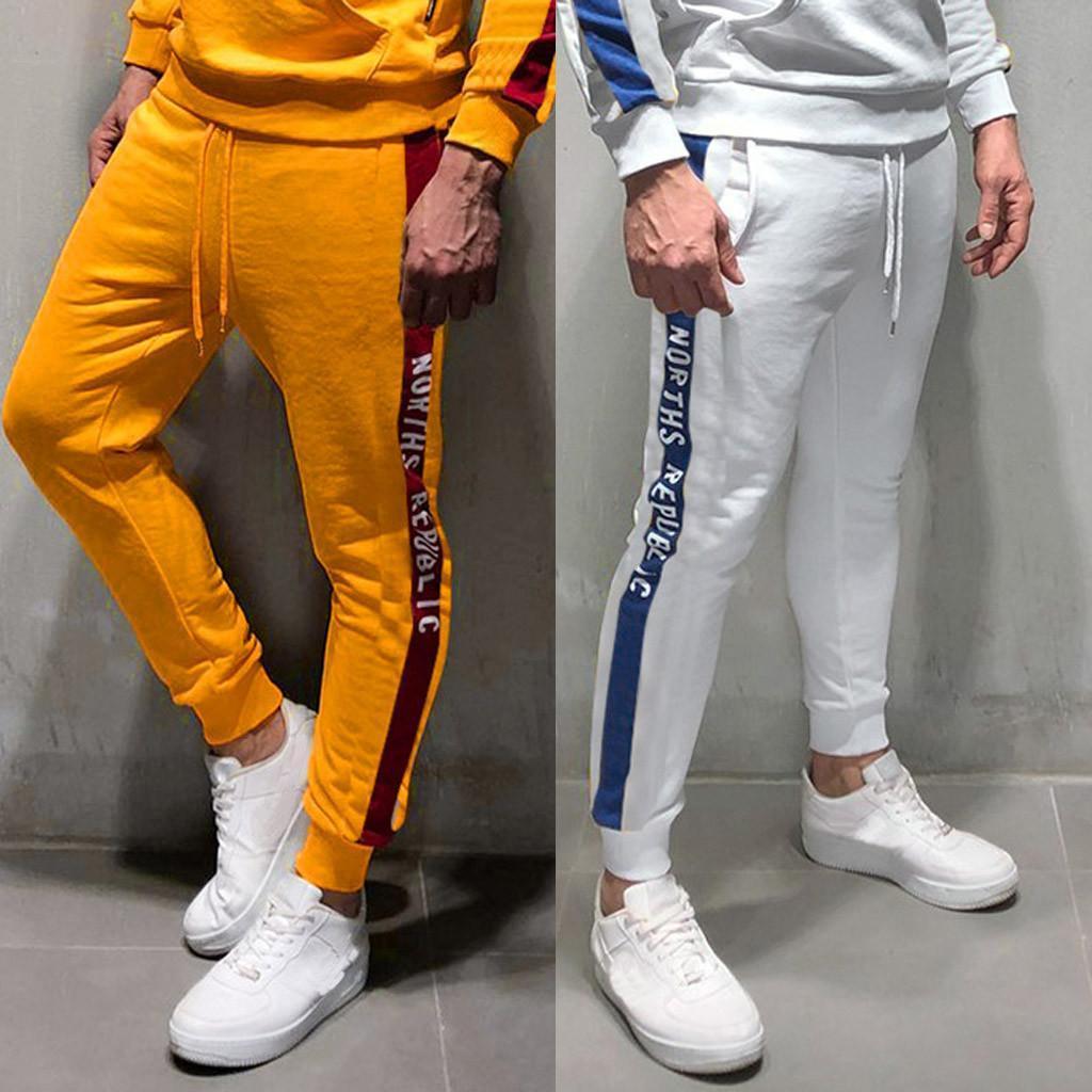 Erkekler Pantolon Gündelik Spor Vücut Geliştirme Pocket Cilt Tam Boy Spor Koşucular Sweatpants Artı boyutu Pantolon Kargo Pantolon Streetwear