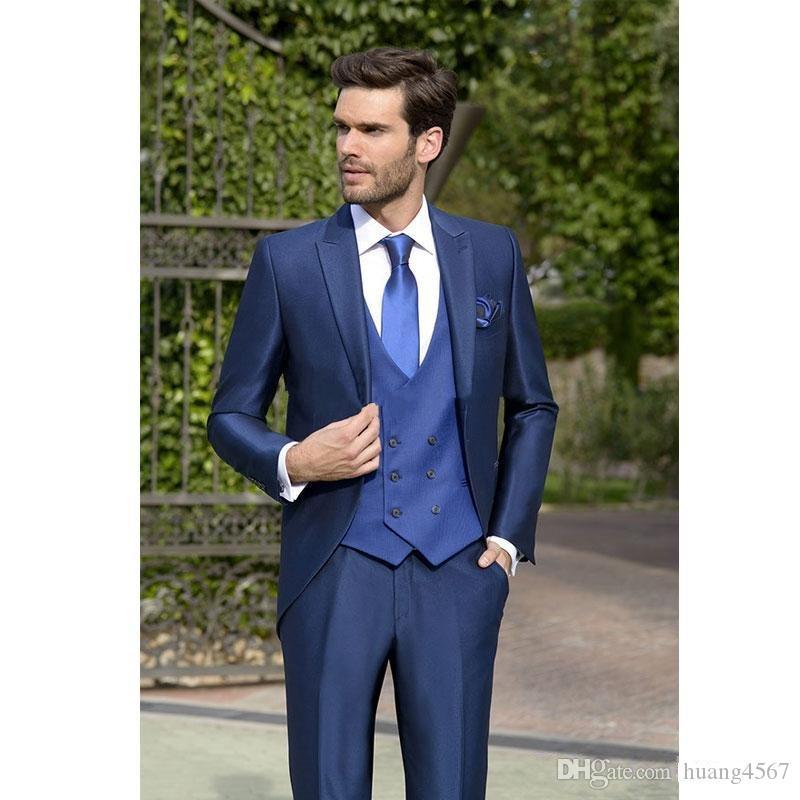 Vendita calda One Button Blue Smoking dello sposo Sposo Risvolto Groomsmen Uomo Abiti Prom Blazer (Jacket + Pants + Vest + Tie) 161