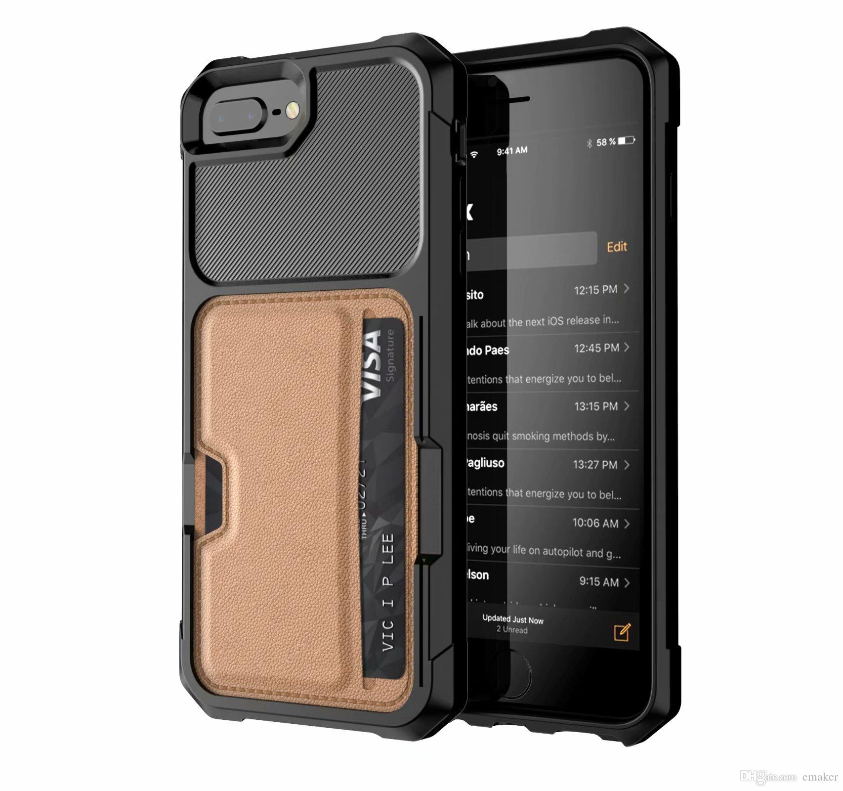 Чехол для телефона с магнитной подставкой для iPhone X XS MAX XR 8 7 6S Plus защищает мобильный телефон Автомобильный держатель Чехол для телефона с гнездами для кредитных карт многофункциональный