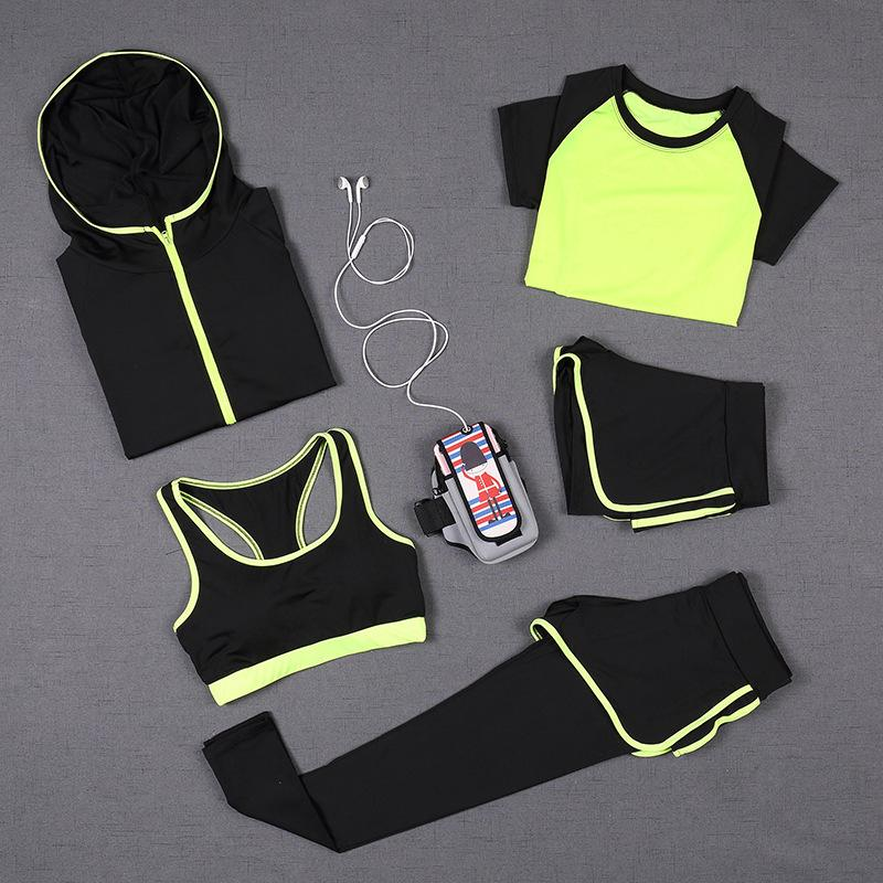 Shorts Sets 6Colors S~XXL,Green,XL Womens Yoga Sports Running Gym Short Sleeve Top T-Shirts Tops