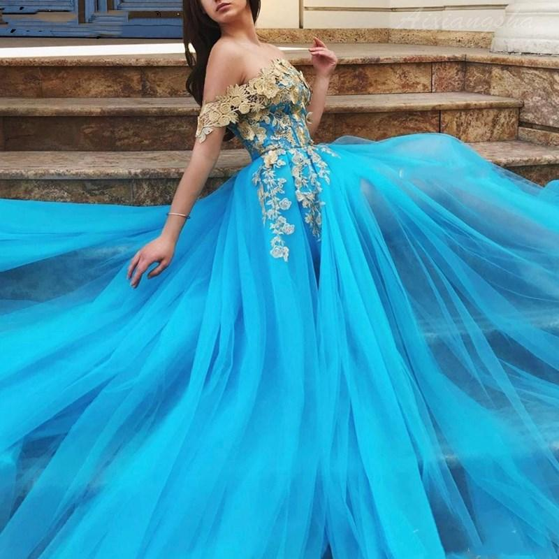 Blue Muslim Prom Evening Dresses 2020 Gold Lace Off the Shoulder High Slit Tulle Islamic Dubai Kaftan Saudi Arabic Long Party Dress