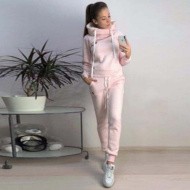 OEAK 2019 Nouveau Automne Hiver Femmes Sets Survêtement Femme manches longues Pull Pantalons Deux Piece Ensemble Réchauffez Tenues Suit