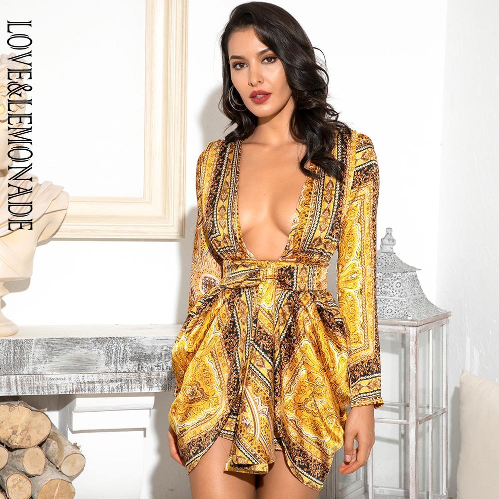 LOVELEMONADE Seksi Sarı Vintage Derin V-Yaka Yüksek Bel Kol Bölünmüş Shrug Mini Dress (Desen Is Asimetrik) LM82157-1 T200623 yazdır