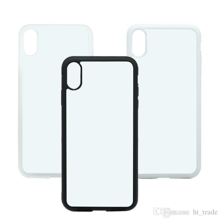Caso em branco para iphone x xs xs max xr impressão por sublimação 2D Hard Case Telefone de Plástico com Inserção de Metal Do Telefone Móvel Shell