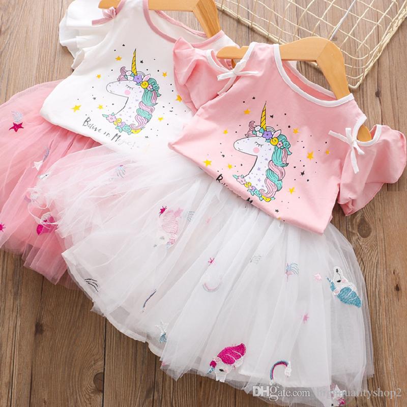 marchio Champion donne set 2019 Estate Principessa sveglia Ragazze Unicorn T- Shirt + Dress garza 2PCS bambini che coprono 3 8Y