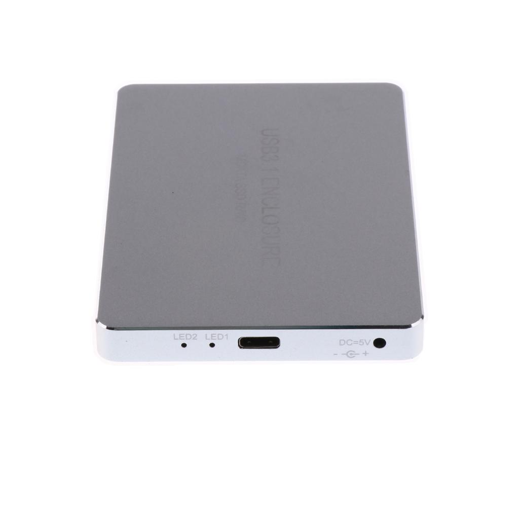 HDD Enclosure 10Gbps USB3.1 Type-C to 2 Ports MSATA Interfaces SSD Hard disks Support Raid0 Raid1 and PM for Windows//Linux