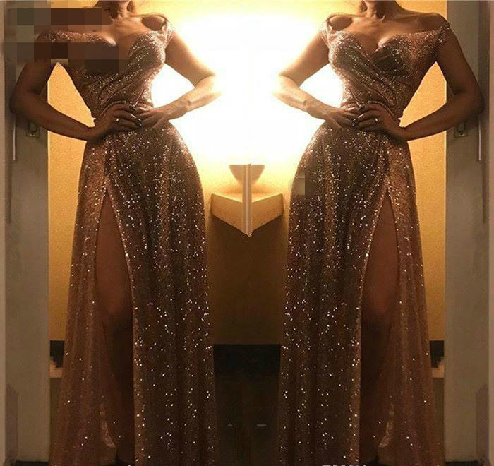 2020 de los hombros Evento vestidos de noche del traje atractivo de lentejuelas de lado de Split mujeres del desgaste formal del partido del tamaño de baile vestido de encargo más