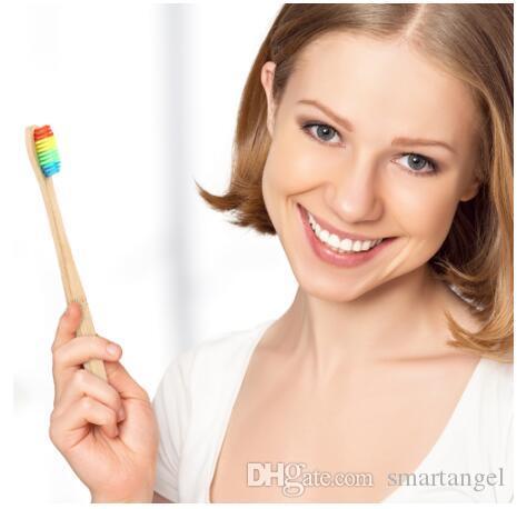 MOQ 150pcs del arco iris de bambú cepillo de dientes portátil Diente de pelo cepillo suave amigable eco Cepillos Oral Care Herramientas de limpieza
