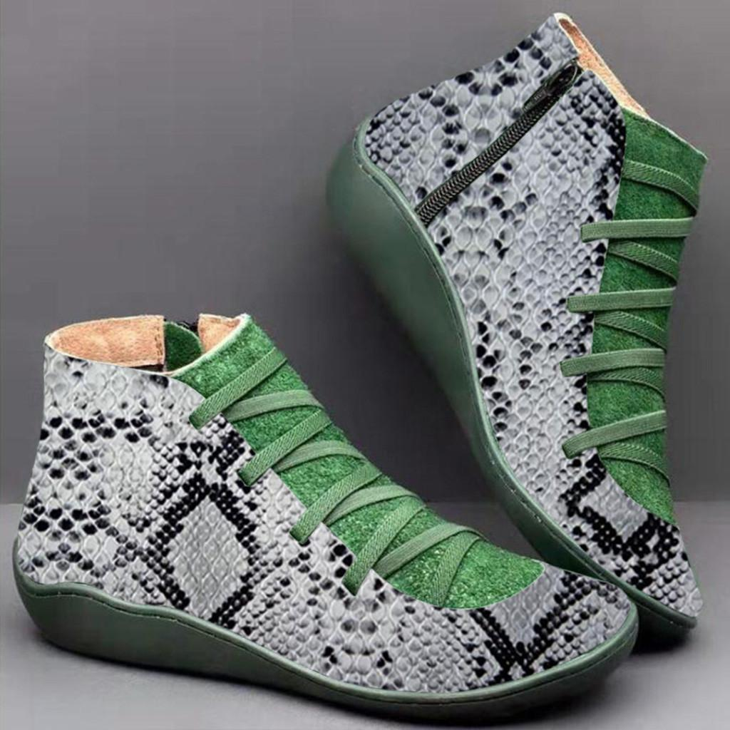 con cintura piattaforma stivaletti Retro casual in pelle piatto Lace-up Stivaletti Side Zipper rotonda Stivali le dita dei piedi scarpe da donna # 4