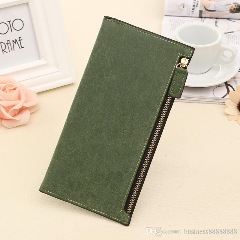 2019 Free Shipping Women Bags Solid PU Leather Long Section Zipper Wallet Female Credit Card Holder Clutch Wallet Female Slim Hand Bag
