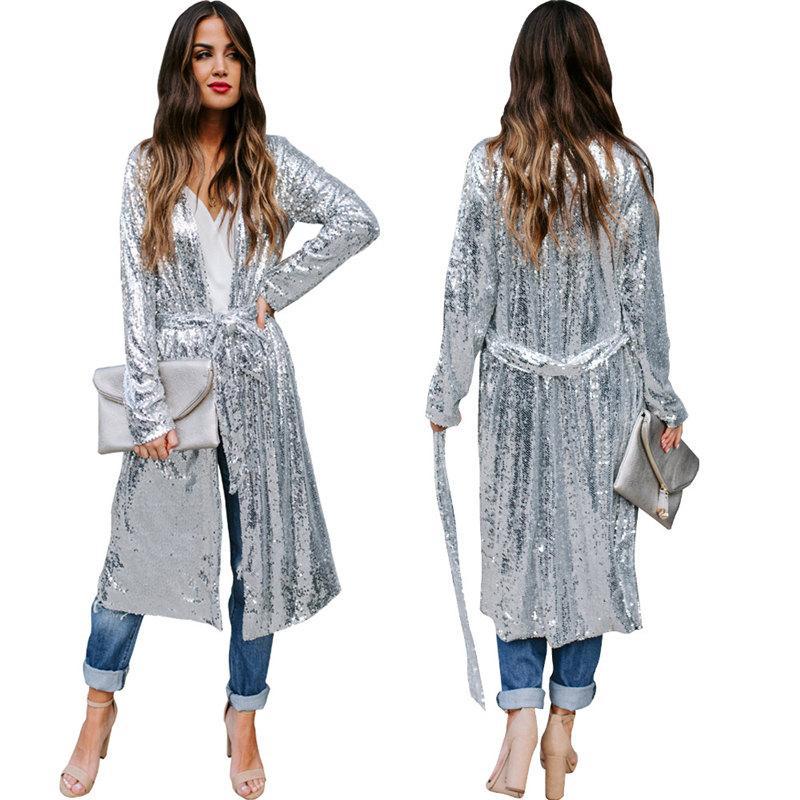 Sequin Fashion Woman Clothing Feminino Long Jacket with belt