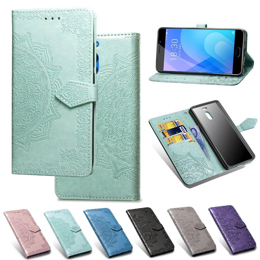 Téléphone de couverture pour Meizu Blue Note 6 PU cuir embossé Datura Fleurs ANTIDÉRAPANTES Concave Convexe Surface (Modèle: Note6)