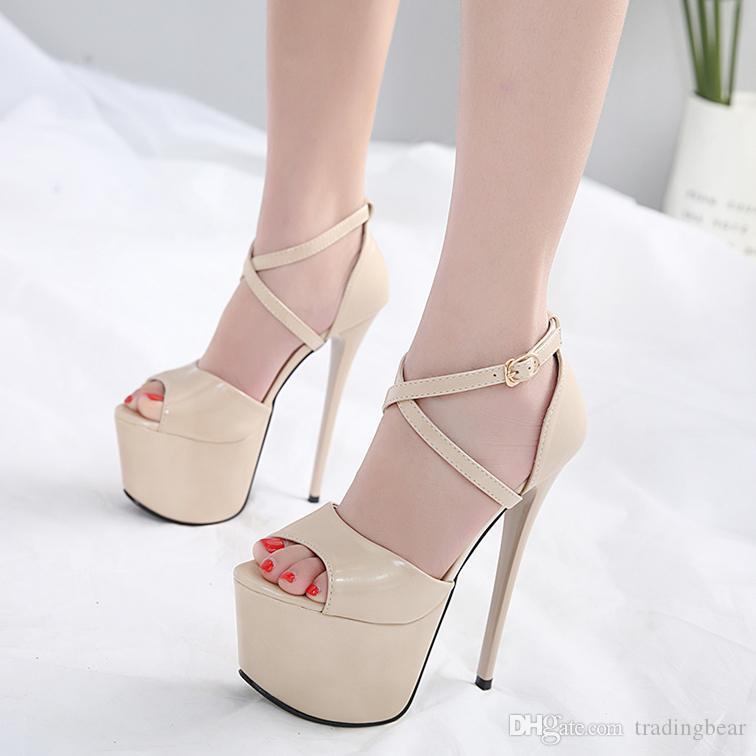 17cm Sexy black patent PU leather ultra high heel platform pumps women designer shoes 2 colors size 34 to 39