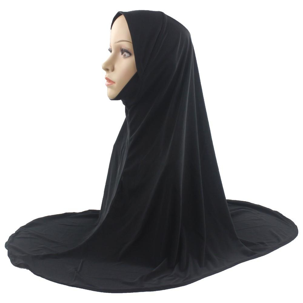 Muslim Islamic Hijab Scarf One Piece Woman Amira Fashion Solid Color Soft and Stretch Material