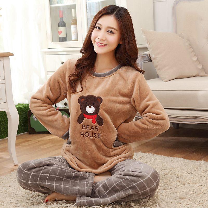Winter Pajamas Flannel Women Sleepwear Sets Thick Bear Print Shirts Plaid Pants Female Nightgown Casual Warm Velvet Home Wear