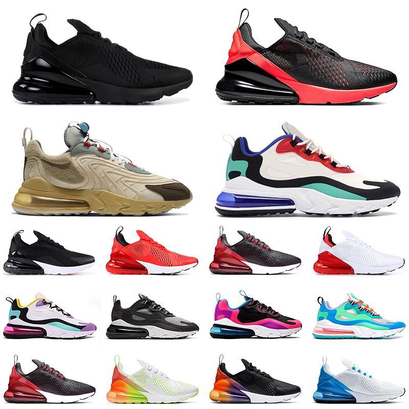 Nike Air Max 270 React Chegada nova marca ar BAUHAUS reagir homens running shoes brilhante violeta azul void Mens trainer respirável esportes ao ar livre sneakers 40-45