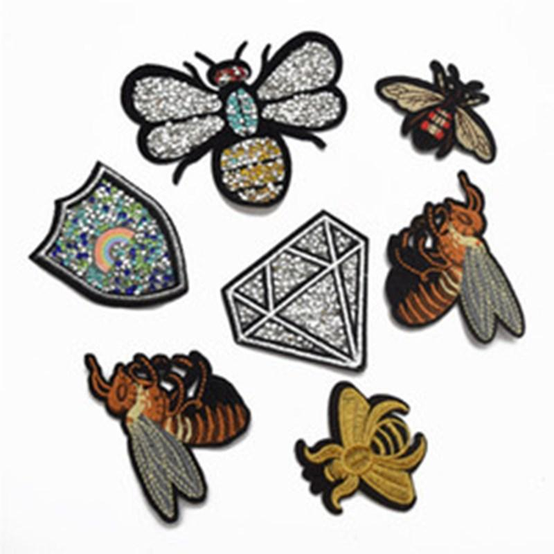25pcs Iron On Embroidered Applique Patch rhinestone Bee badge for clothes shoes bag