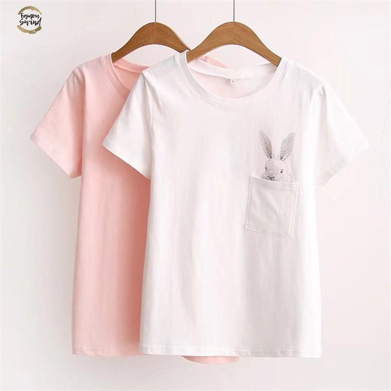 New Arrival Women Casual T-shirt Short Sleeve Ladies Loose Casual Summer Tops Cartoon Bunny Pocket Short Sleeve Tops