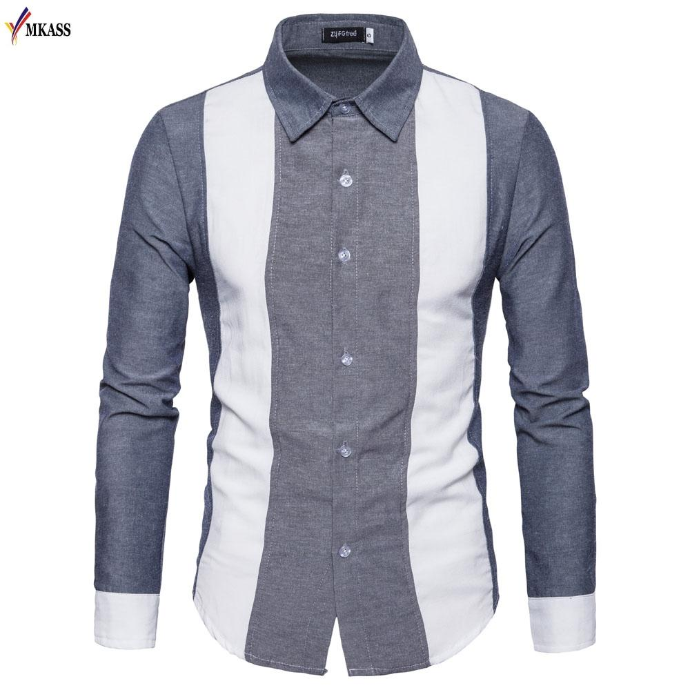 2018 New Casual Men Shirt Long Sleeve Mandarin Collar Slim Fit Shirt Men Korean Business Mens Dress Shirts Clothes S-XXL