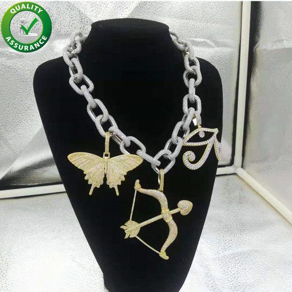 Iced Out Pendant Hip Hop Bling Chains jewelry Men Luxury Designer Necklace Fashion DJ Boy Hiphop Diamond Cuban Link Chain Rapper Accessories