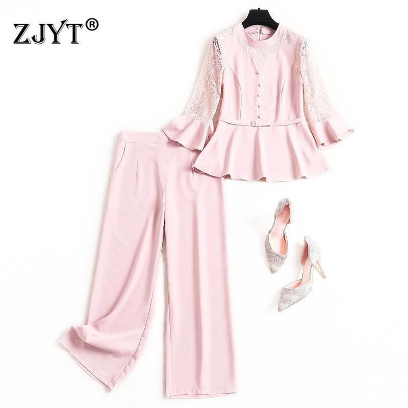2020 New Spring signora dell'ufficio Pants 2Piece Set progettista elegante del chiarore del manicotto del merletto Patchwork superiore ed i pantaloni del vestito di Corrispondenza