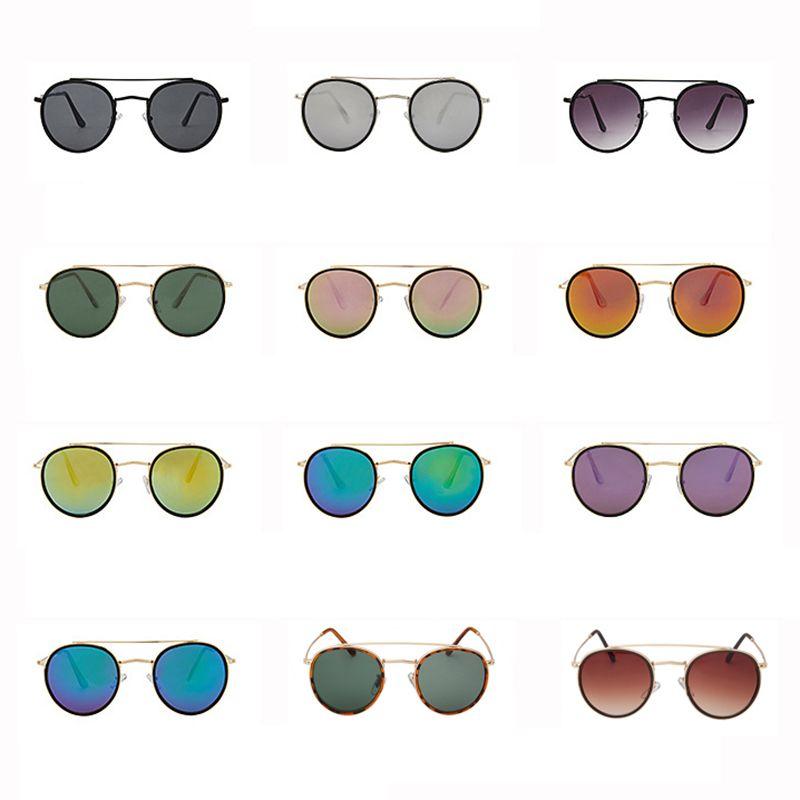 3647 moda óculos de sol das mulheres dos homens retro marca rodada óculos de sol ponte dupla oculos de sol Gafas UV400