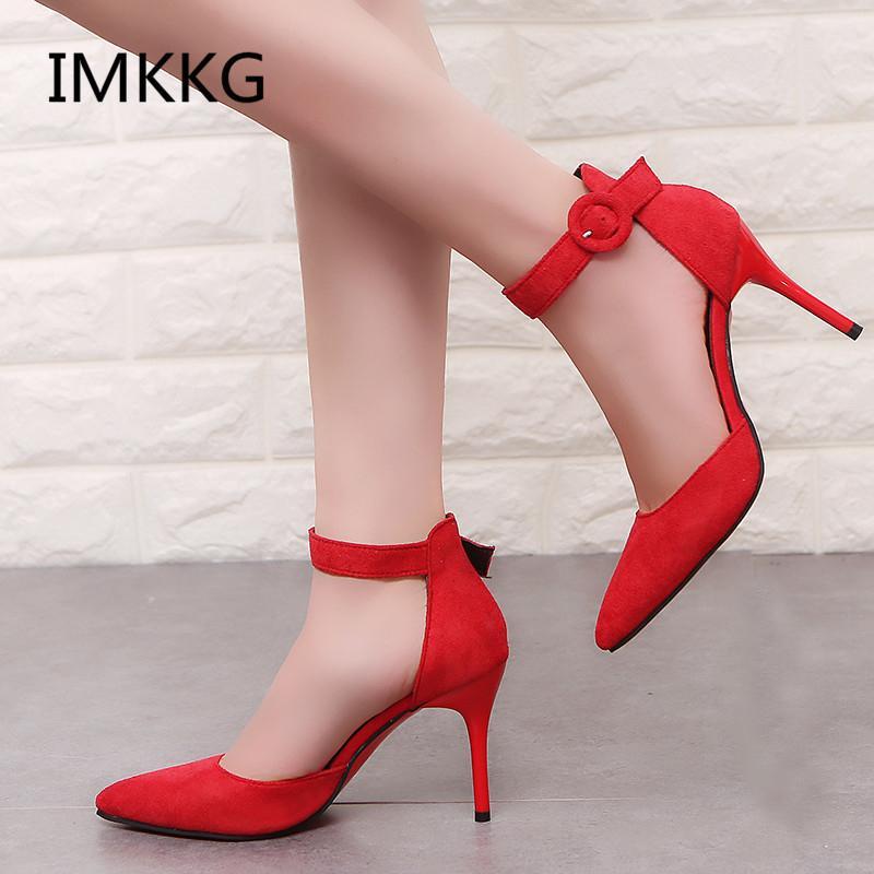 2018 nuovo arrivo coreano scarpe da ufficio punta a punta concisa moda donna solido floccato scarpe tacchi bassi per le donne V008MX190830
