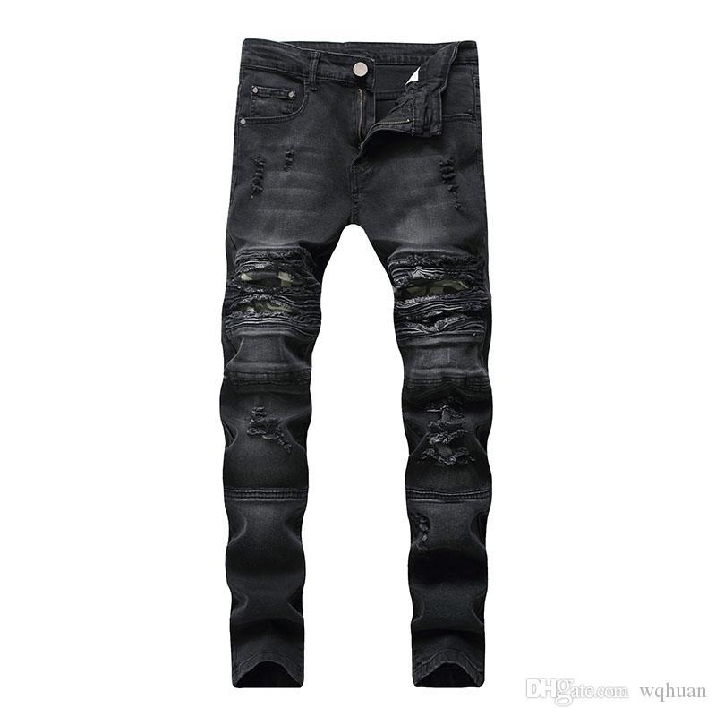 Erkekler Biker kot Vintage Patchwork kot pantolon Diz Delikler Ripped dökümlü Sratched Kasetli kaliteli Ücretsiz Kargo Yıkanmış