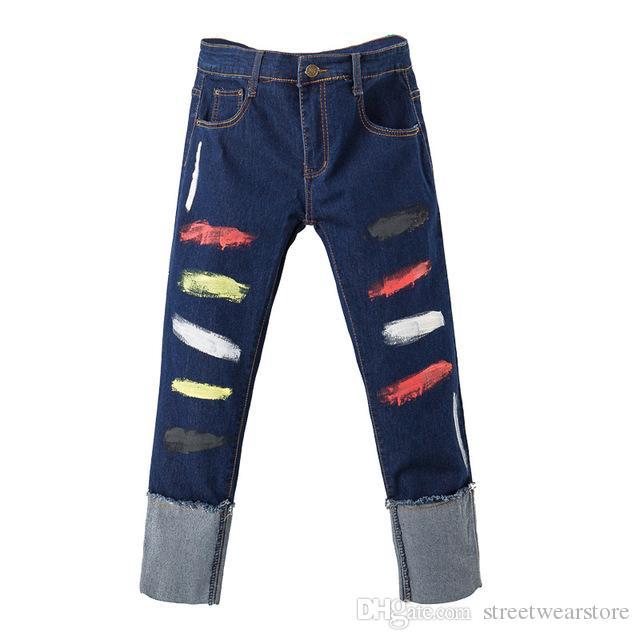 Women's ankle length roll up hem colored painted crop jeans Plus size denim jeans