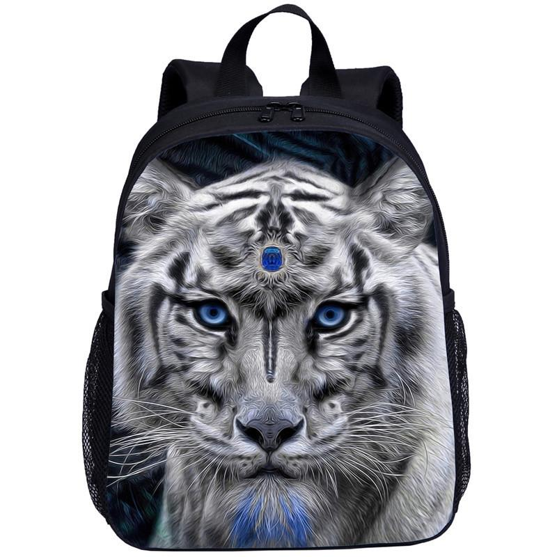 Mini Backpacks Kids Boys Girls Fantasy Animal White Tiger 3D Printing School Bag Kindergarten Students Bookbag Mochila Escolar T200612