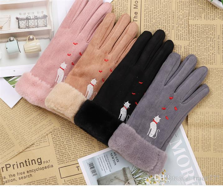 Autumn and winter suede gloves for women touch screen protector warm thickened mouth points to cycling gloves