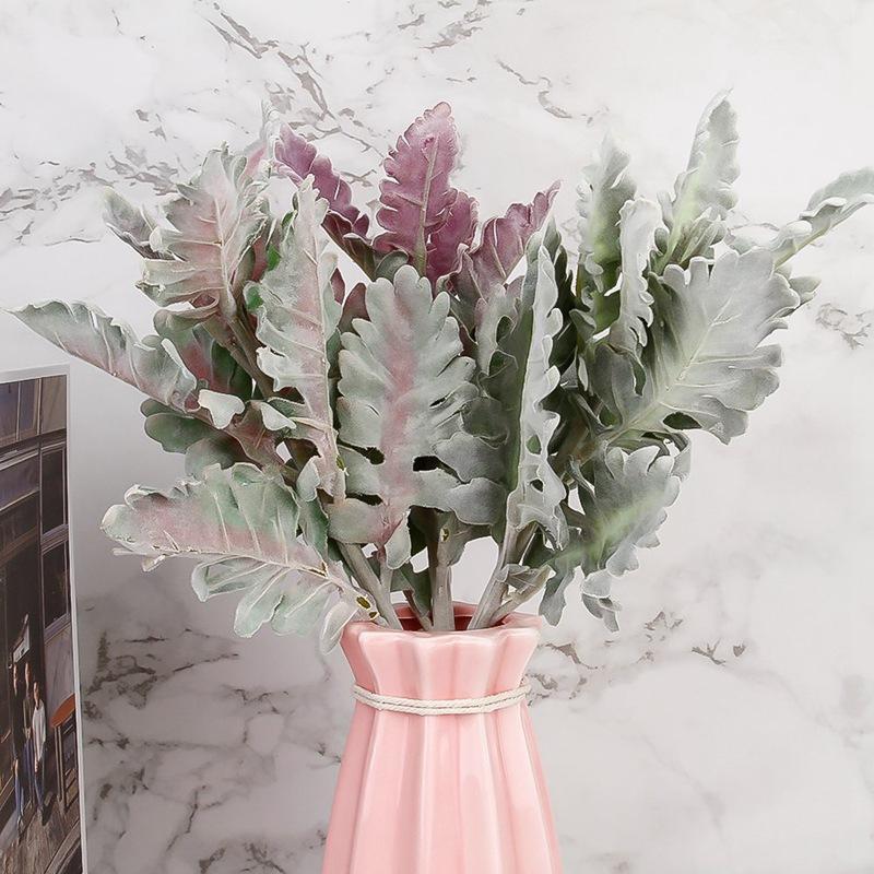 Nuovo floccato artificiale Miller Piante viola Foglie Home Matrimonio Natale della decorazione di DIY Falsi disposizione di fiori Faux Fogliame