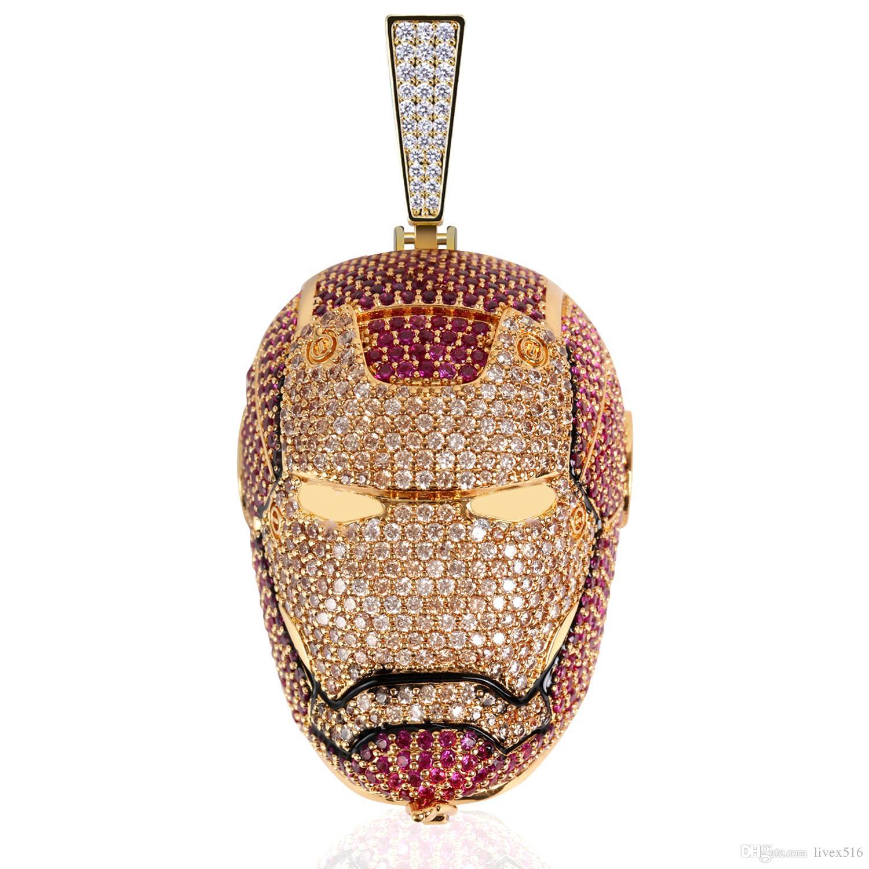 Новый Дизайн Железный Человек Обледенелый Кулон Ожерелье Золото Посеребренные Мстители Цепь Мужская Идея Подарка Bling Ювелирные Изделия