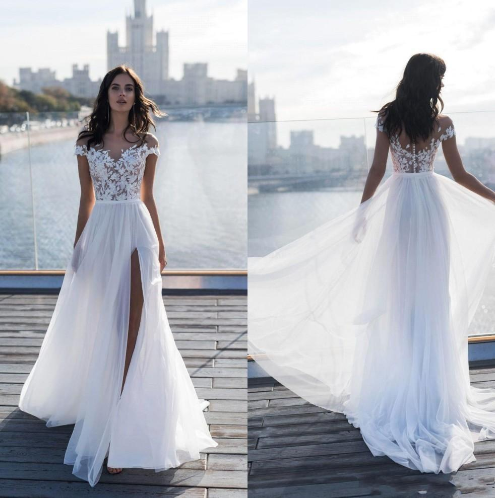2019 New Design Strand Lange Brautkleider Sheer Ansatz Spitze Appliqued Chiffon bodenlangen Split Boho-Brautkleider nach Maß BC1924