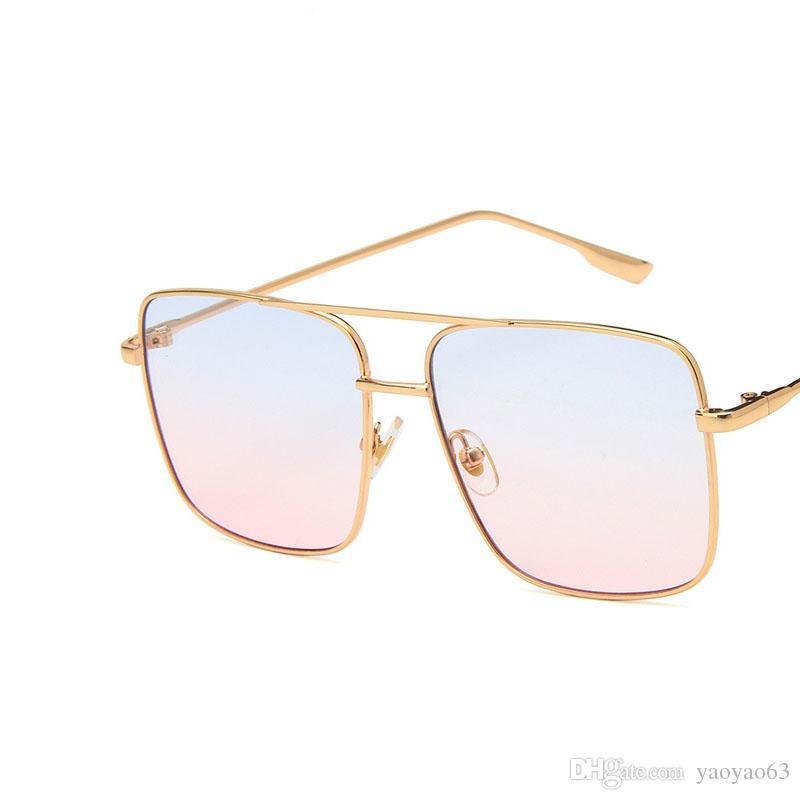 Tendencia estilo retro cuadrado de metal gafas de sol del océano piece Gafas de sol de los hombres de moda y las mujeres de doble haz de sol