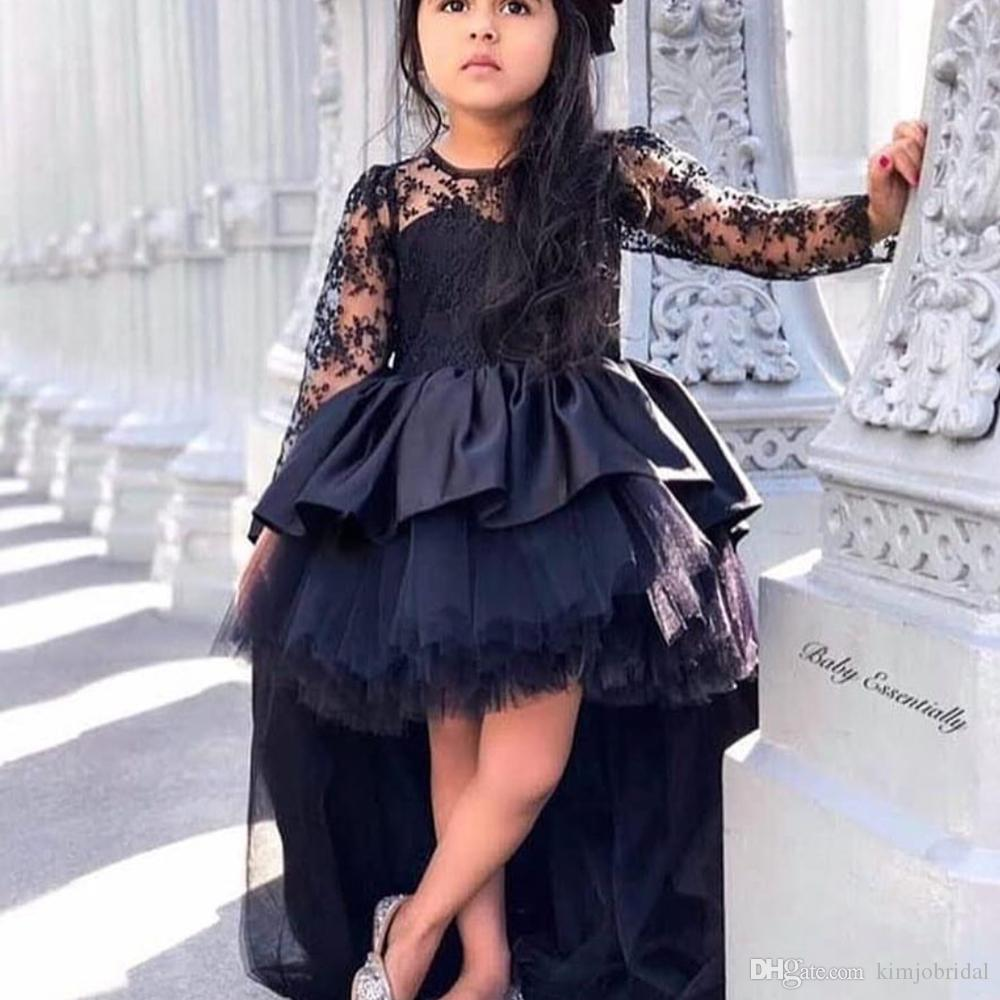 abiti da spettacolo per bambine nere scollo a girocollo manica lunga fronte alto e schiena bassa volant in tulle di raso abiti da bambina per bambini