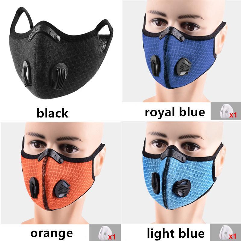 Unisex Maschera Per Sport Equitazione Esercizio maschera facciale Filtro Sostituito MESH Carboni antipolvere filato esterno della bici respirabile Facile Shield