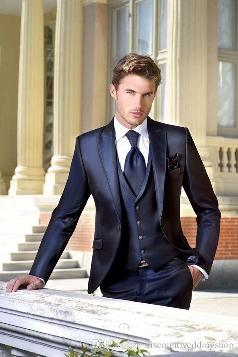 Высокое качество Блестящая Navy Blue Man Работа костюм Пик нагрудные жениха Свадебные смокинги мужские Пром Blazer партии костюмы (куртка + брюки + жилет + Tie) J673