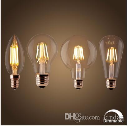 خيوط led لمبة e27 الرجعية اديسون مصباح 220 فولت e14 خمر c35 شمعة ضوء عكس الضوء g95 غلوب أمبول الإضاءة cob ديكور المنزل