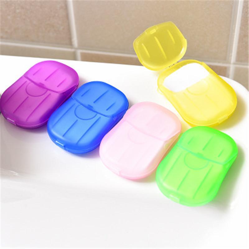 20pcs / set de lavado portátil del recorrido al aire Papel Jabón Hojas Mano limpio baño perfumado Slice cajas desechables Jabón Jabón Mini Papel
