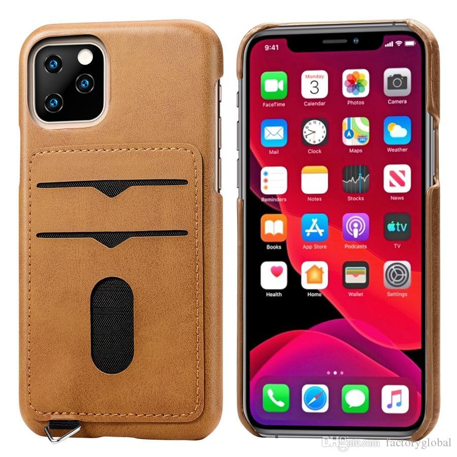 Новое прибытие Кожа карты Слоты телефон крышки случая с 2 слота для карт кожаный чехол для iPhone 11 про макс Samsung OnePlus 7 DHL