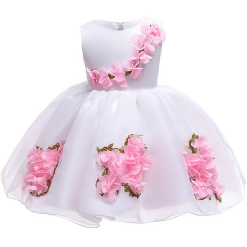 Summer Flower Dress for Baby Christening Gown First Birthday Party Girl Baby Clothing Ball Gown Toddler Infant Vestido Infantil