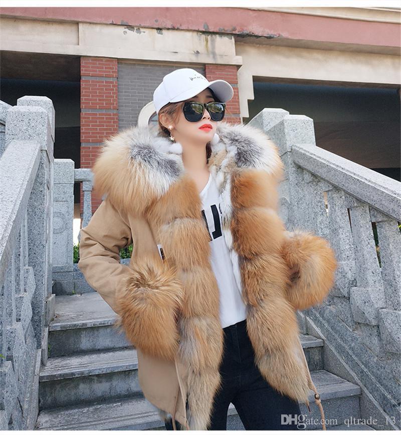 Chegada nova khaki pele de guaxinim guarnição limiar maomaokong marca marrom forro de pele de coelho mini jaquetas cáqui neve parka cuff pele