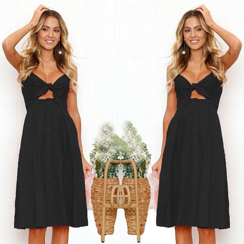 Sexy Backless Maxi Vestido Frauen Bogen-Sommer-Kleid 2020 Sommerkleid Dame Vintage Kleider gelbe Spaghetti-Bügel-Buttons legere Kleidung