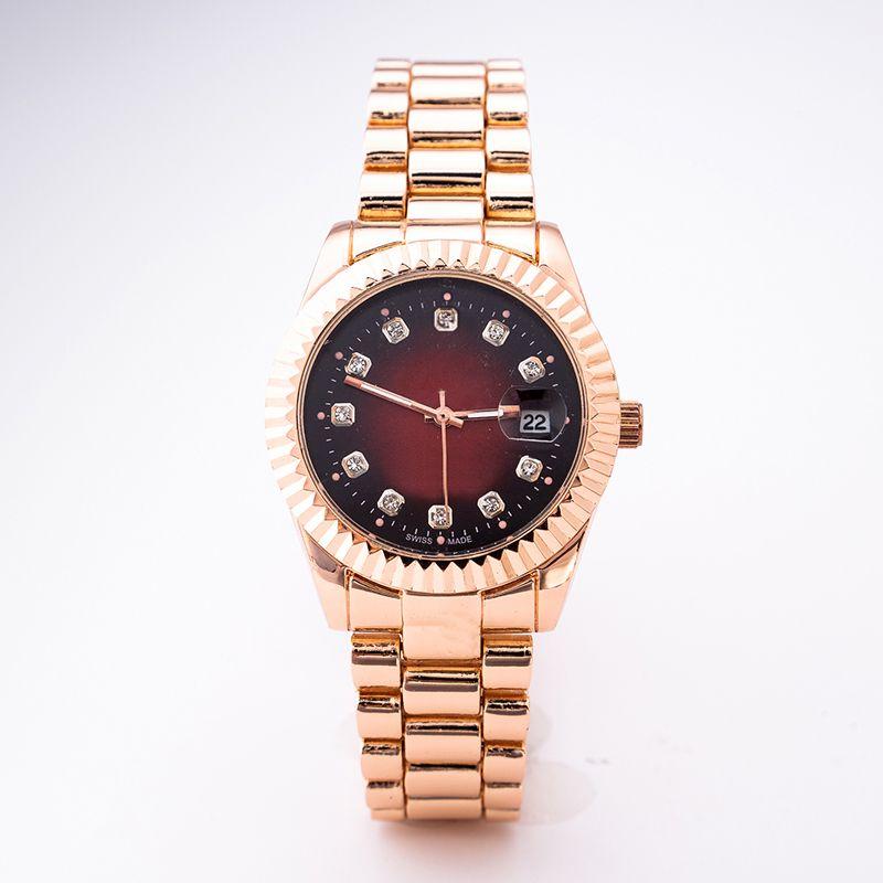 최고 방수 질 달력 유행 상표는 금 남자의 스테인리스 묻힌 다이아몬드 영국 결혼 시계 상자에 오른다