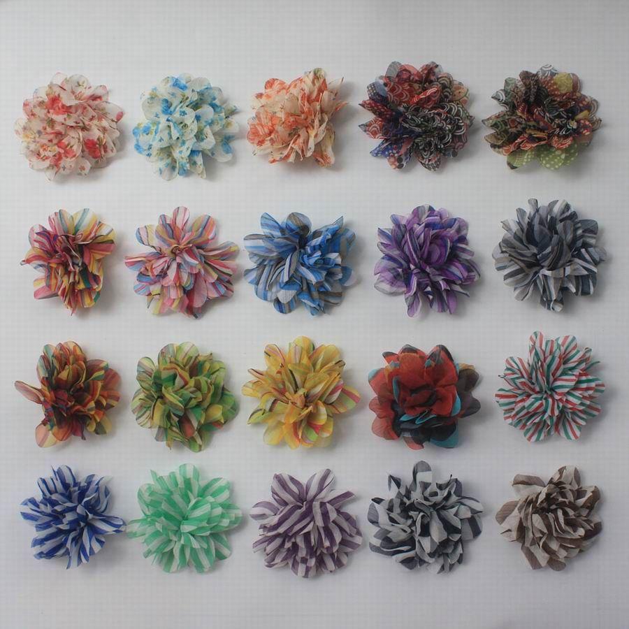 100pcs 9cm Multilayer Print Chiffon Flower for Girls Women Kids Hair Headband Hair Clip Hair Band Hairpin DIY Flower Accessories