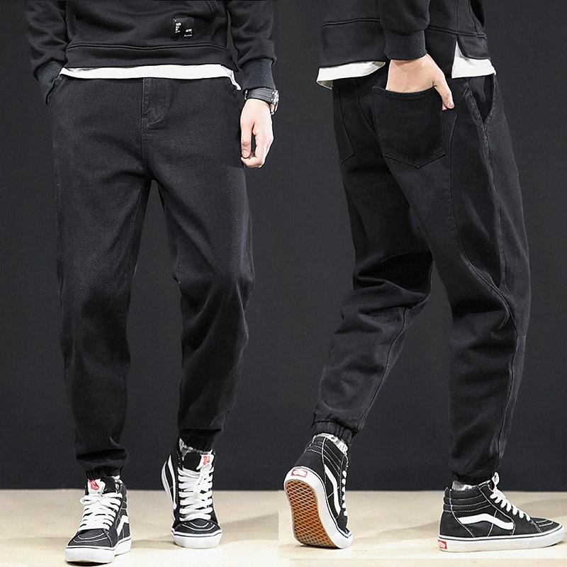 Japonés de la moda del Hombre Jeans Loose Fit empalmado Diseñador Denim Pantalones Cargo Tamaño 28-44 Hip Hop Jeans Hombres Joggers Harem hULJ #